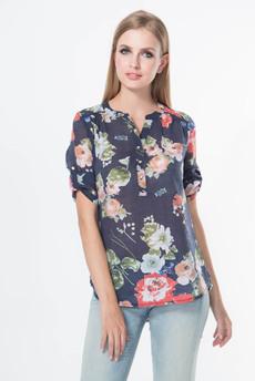 Блузка с регулируемыми рукавами и поясом-шнурком Marimay